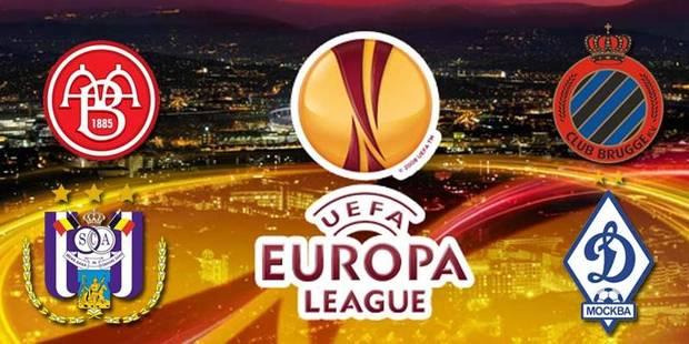 Europa League: Le Club Bruges jouera Aalborg, Anderlecht face au Dynamo Moscou - La DH