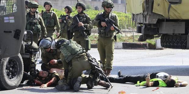 La terrible image d'un Palestinien abattu après avoir poignardé un soldat - La DH