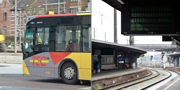 Grève à la SNCB: La circulation ferroviaire fortement perturbée en Wallonie, le TEC Hainaut à l'arrêt - La DH