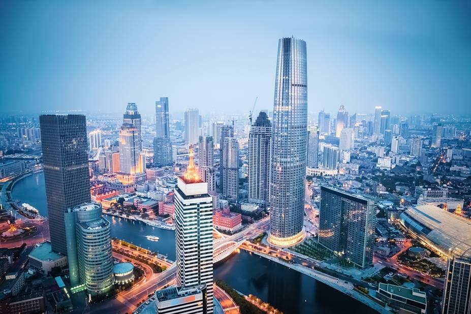 Le quartier d'affaires de Tianjin, on se croirait à New York !
