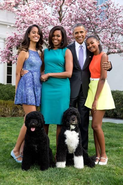 Photo de famille à la Maison Blanche en avril 2015.