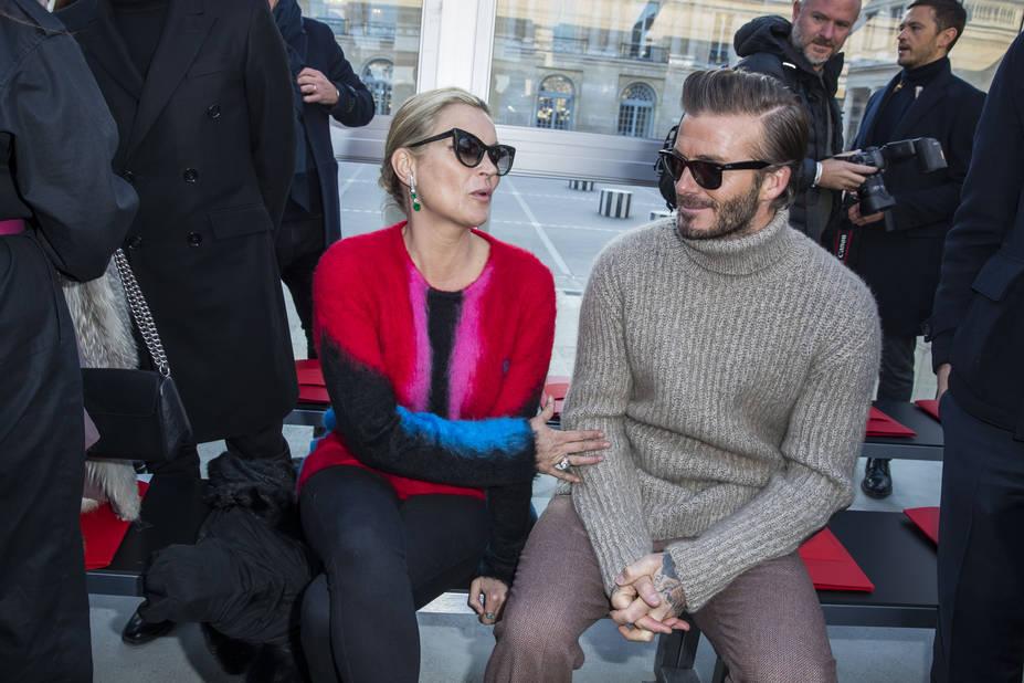 Kate Moss et David Beckham - Front raw du défilé de mode