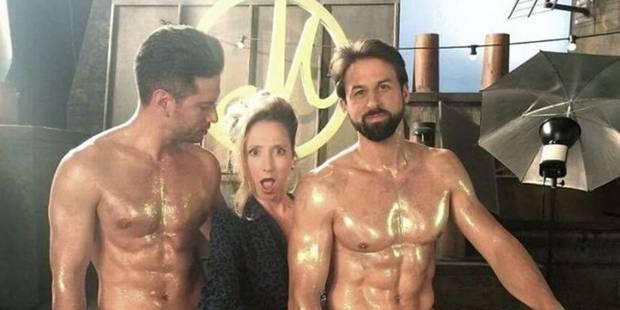 Audrey Lamy, coincée entre deux hommes nus : la photo qui fait parler d'elle - La DH