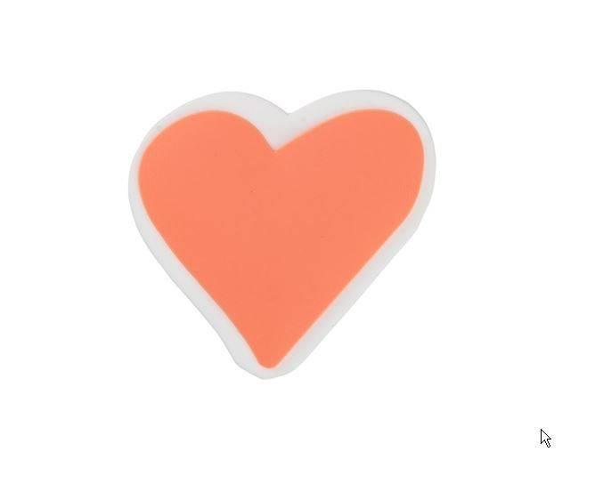 Taille-crayon en plastique de couleur vive, en forme de cœur. HEMA. Prix: 1,25 €