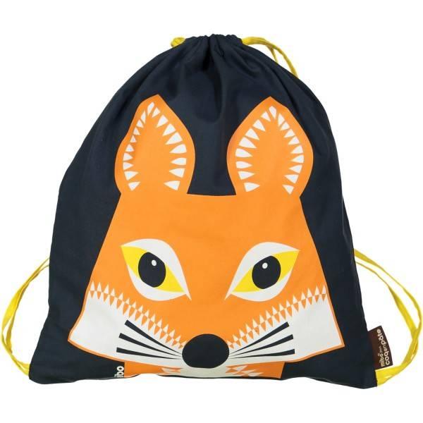 Sac de sport en coton bio de Mibo pour Coq en Pâte. Lion girafe, baleine, panda, etc. Prix: 15 €