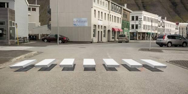 La nouvelle technique de l'Islande pour amener les automobilistes à réduire leur vitesse à l'approche d'un passage piéto...
