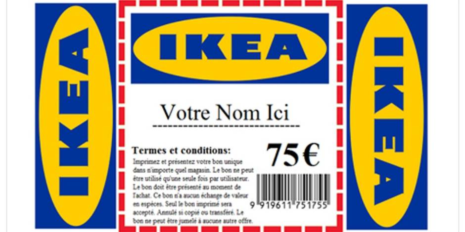 info securite p l p estaimpuis attention au faux bon plan ikea qui circule sur internet. Black Bedroom Furniture Sets. Home Design Ideas