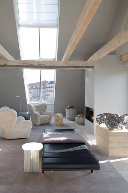 Le salon du loft à Copenhague.
