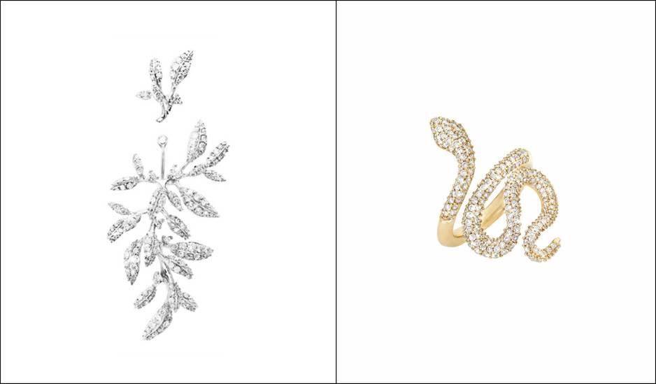 Boucles d'oreille en diamants et bague serpent, pnc.                   www.olelynggaard.com