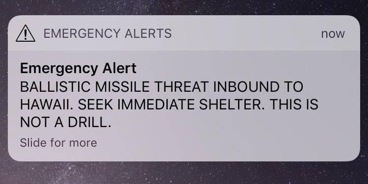 Une alerte envoyée par erreur annonce l'arrivée d'un missile aux Hawaï