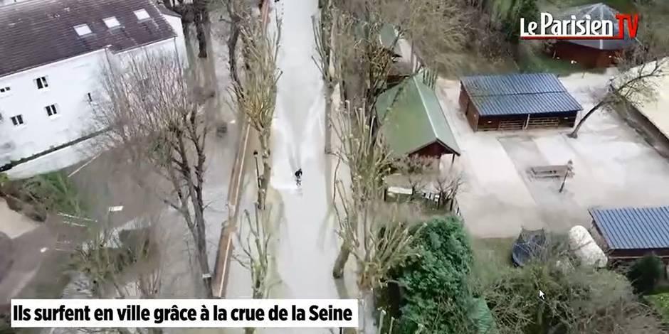 Vidéo - Crue de la Seine : du wakeboard dans les rues