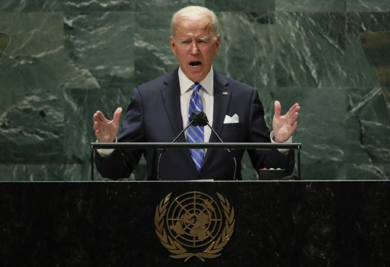 Le président américain Joe Biden à la tribune de l'Assemblée générale de l'ONU, le 21 septembre 2021 à New York