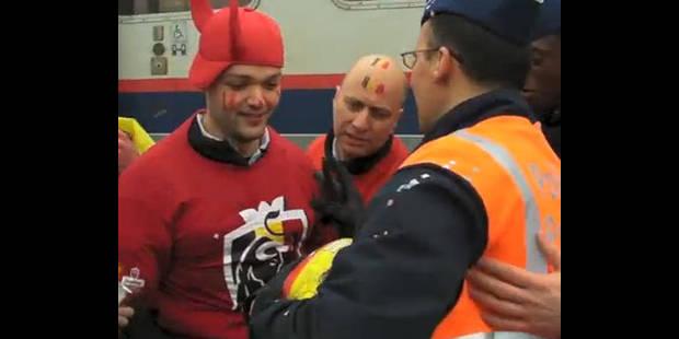 Des policiers encadrent des supporters de foot déchaînés ! - La DH