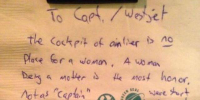 Le petit mot sexiste envers une pilote de ligne