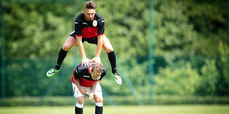 LIEGE , BELGIUM - June 24 : Anil Koc and François Marquet of Standard de Liege pictured during the first open training of the saison 2014 - 2015, in the Academy Robert Louis Dreyfus in Liege on 24 June 2014. (Photo by Sebastien Smets/Photonews PICTURES NOT INCLUDED IN THE CONTRACTS