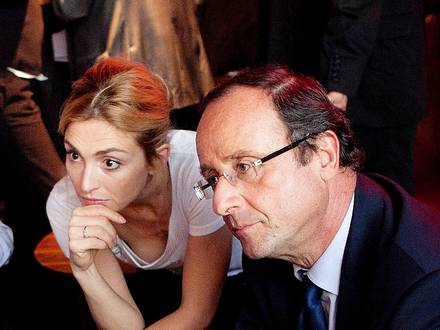 October 3, 2011 - Paris, France: French presidential candidate Francois Hollande speaks with actress Julie Gayet during a meeting at the Cinema des Cineastes about cinema and art. In May 2012, Hollande won the presidential election. In January 2014, reports appeared in the media that he was having an intimate relationship with Gayet. (Aude Guerrucci/Polaris) PICTURE NOT INCLUDED IN THE CONTRACT