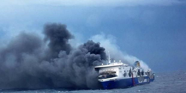 """Incendie sur le ferry Norman Atlantic: tous les r�sidents belges """"sains et saufs"""""""
