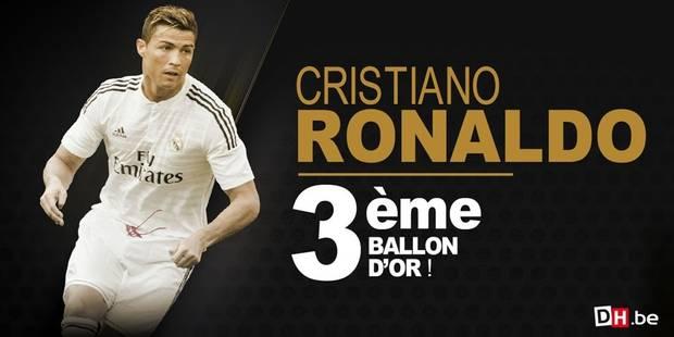 """Cristiano Ronaldo remporte le Ballon d'Or 2014: """"Je le méritais peut-être plus que les autres"""" - La DH"""