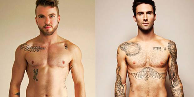 La célèbre photo d'Adam Levine nu version transgenre - La DH