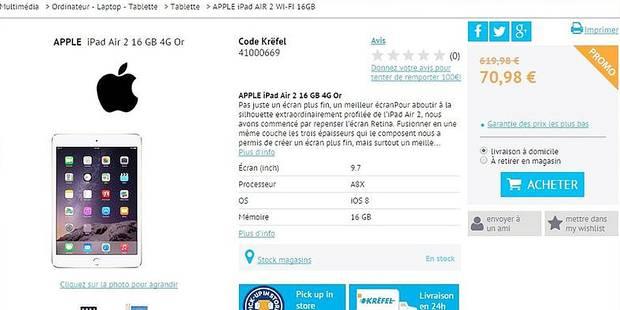 70 € l'iPad Air neuf: la folle erreur de Krëfel ! - La DH