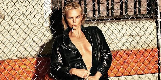Charlize Theron, clope et cuir pour W Magazine - La DH