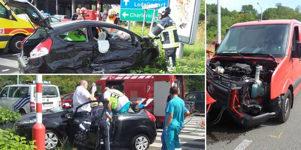 Collision à l'entrée de l'autoroute A54 à Lodelinsart: une dame grièvement blessée (PHOTOS) - La DH