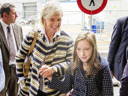 20120903 - BRUSSELS, BELGIUM: Princess Astrid of Belgium and Princess Laetitia Maria arrive for the first day of school at the Sint-Jan-Berchmanscollege in Brussels, Monday 03 September 2012. ©Geoffroy Van der Hasselt/Reporters