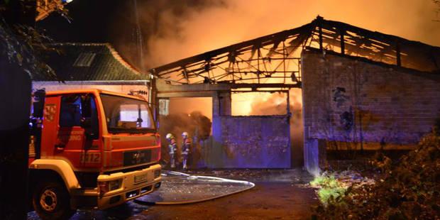 Hollain : Un hangar en feu, une dame �g�e �vacu�e
