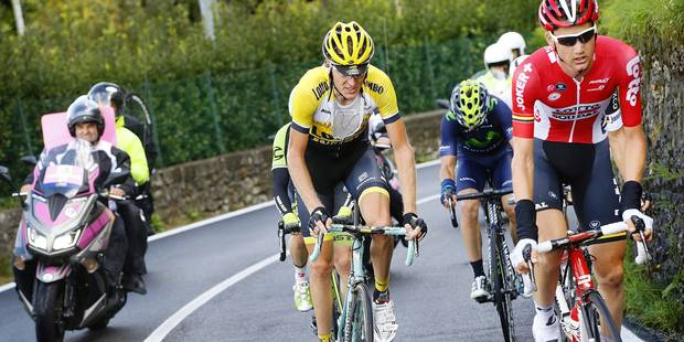 Como - Italia - wielrennen - cycling - radsport - cyclisme - Robert Gesink (Team LottoNL - Jumbo) - Tim Wellens (Team Lotto Soudal) pictured during Giro Il Lombardia 2015 - Bergamo - Como 245 km - 04-10-2015 - photo LB/RB/Cor Vos © 2015 © Photo News
