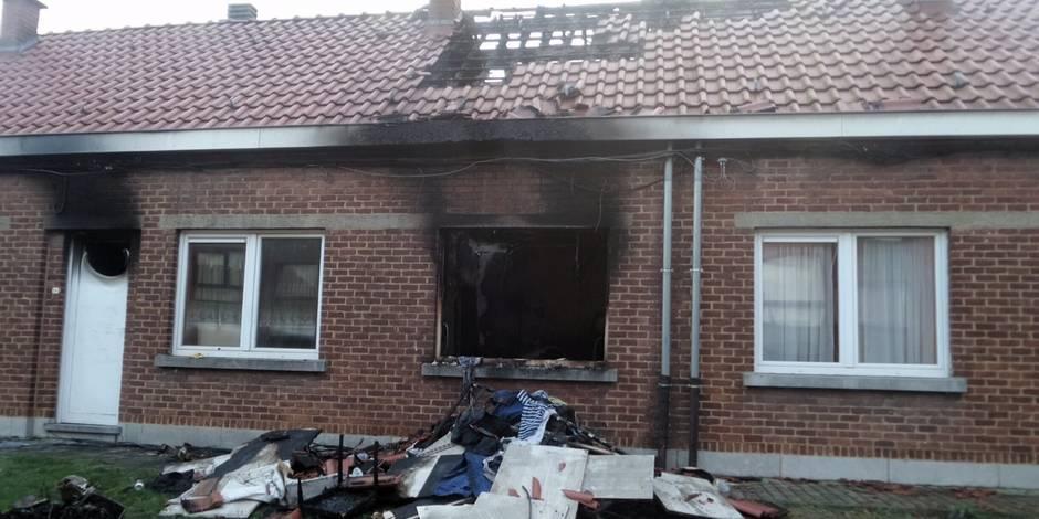 Farciennes: Une habitation détruite par les flammes
