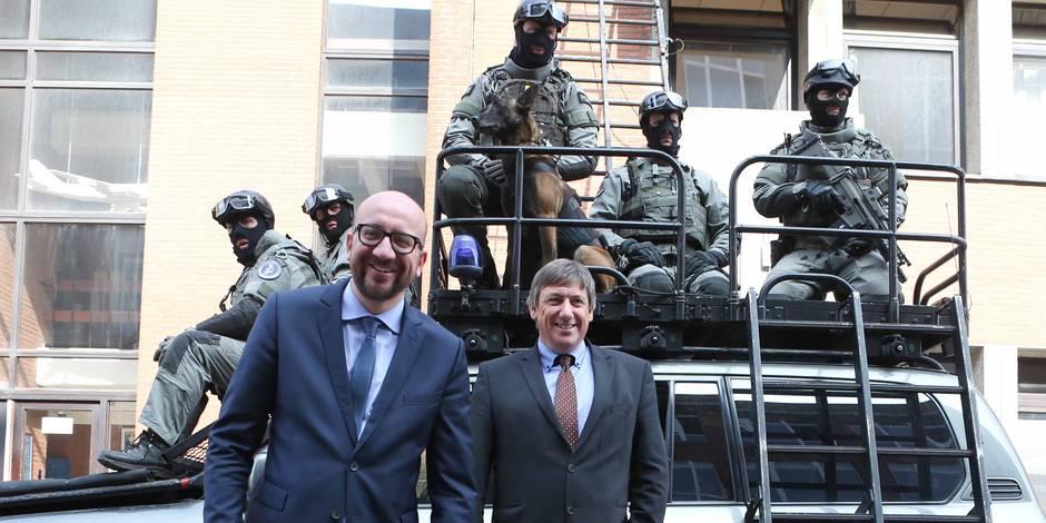 CGSU : unités spéciales de la police fédérale. Exercices en présence de Charles Michel et Jan Jambon.