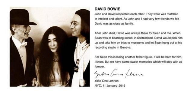 Yoko Ono trop proche de David Bowie ? La vérité rétablie - La DH