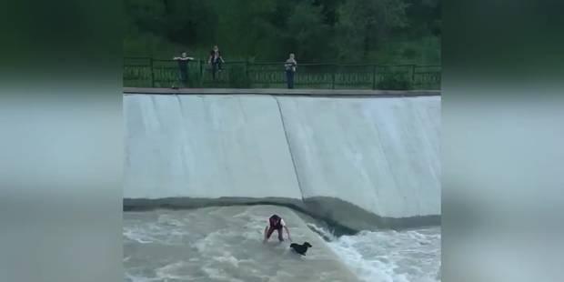 Une chaîne humaine pour secourir un chien tombé dans l'eau - La DH