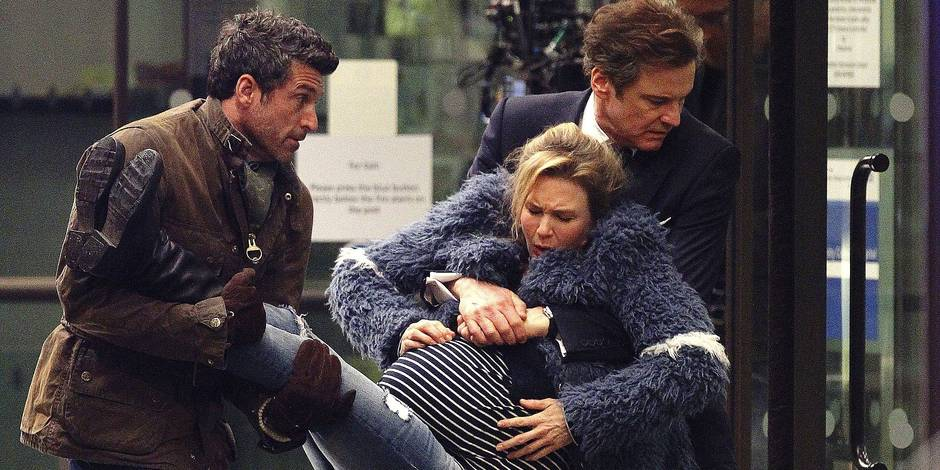 """FAMEFLYNET - Exclusive: A Listers Renee Zellweger, Colin Firth and Patrick Dempsey Seen Filming A Key Scene Of """"Bridget Jones Baby"""" Outside A Maternity Unit In London"""