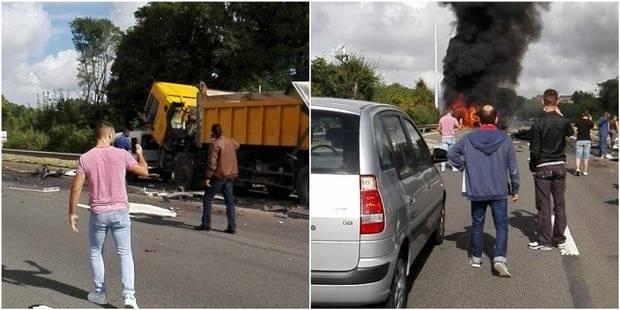 Spectaculaire accident sur l'A604 en région liégeoise: un camion emboutit des voitures et prend feu, plusieurs explosion...
