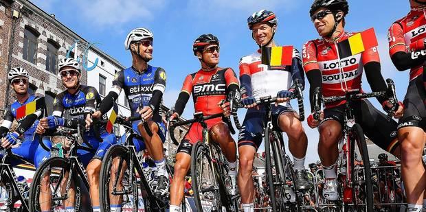 BINCHE, BELGIUM - OCTOBER 4 : KEISSE Iljo (BEL) Rider of ETIXX - QUICK STEP, MAES Nikolas (BEL) Rider of ETIXX - QUICK STEP, BOONEN Tom (BEL) Rider of ETIXX - QUICK STEP, VAN AVERMAET Greg (BEL) Rider of BMC RACING TEAM, NAESEN Oliver (BEL) Rider of IAM CYCLING, DEBUSSCHERE Jens (BEL) Rider of LOTTO SOUDAL, ROELANDTS Jurgen (BEL) Rider of LOTTO SOUDAL before the Belgian Cycling Cup Binche - Chimay - Binche (195 kms) Memorial Frank Vandenbroucke on October 04, 2016 in Binche, Belgium, 4/10/2016 ( Photo by Vincent Kalut / Photonews