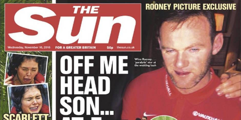 Quand un Wayne Rooney complètement saoul fait scandale en Une des journaux (PHOTOS)