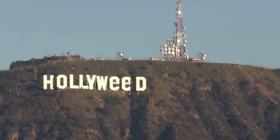 Le panneau Hollywood se transforme en Hollyweed au changement d'année