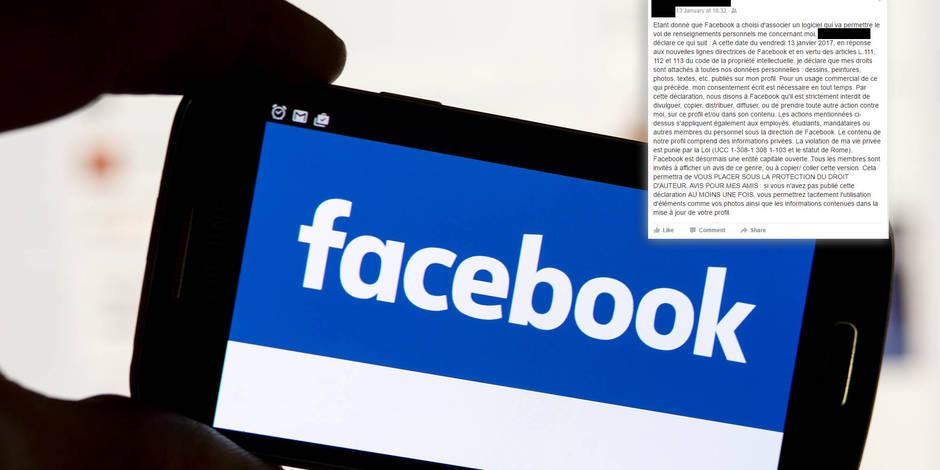 Données personnelles: le statut Facebook qui ne sert à rien...
