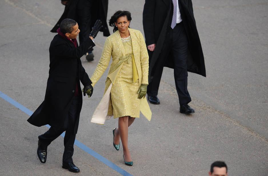 Le 20 janvier 2009. Cette tenue jaune pâle a été réalisée par Isabel Toledo, une styliste cubaine.