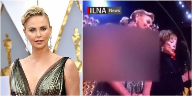 """Charlize Theron """"rhabillée"""" par une télévision iranienne à cause de son décolleté - La DH"""