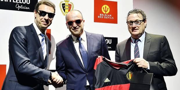 22e7f9ee1c Frederic Poux of Afflelou Sunglasses, Belgium's head coach Roberto Martinez  and Thierry Berniere of Afflelou