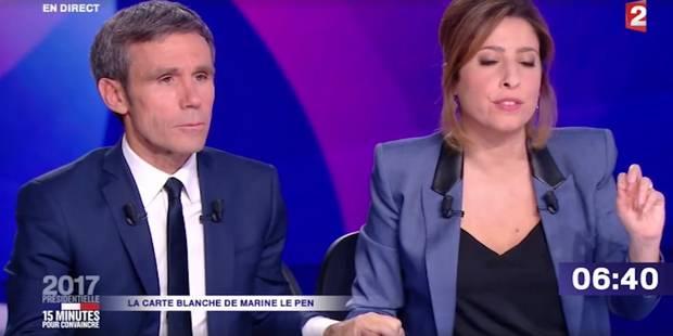 Quand David Pujadas prend la main de Léa Salamé en plein direct de Marine Le Pen (VIDEO) - La DH