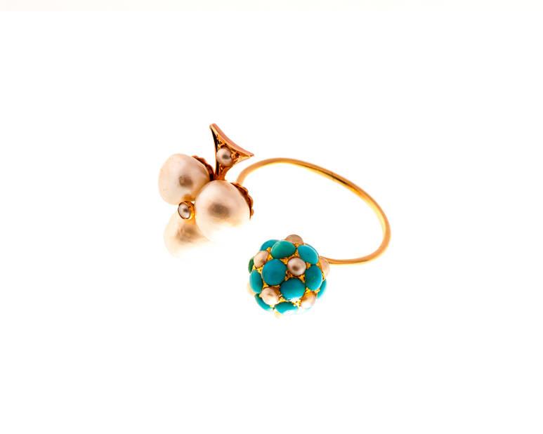 Bague  AXL perle et turquoise et diamant, 850€