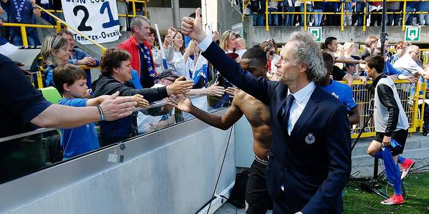 Club's head coach Michel Preud'homme celebrates with the fans after winning the Jupiler Pro League match between Club Brugge and KAA Gent, in Brugge, Sunday 21 May 2017, on the last day of the Play-off 1 of the Belgian soccer championship. BELGA PHOTO BRUNO FAHY