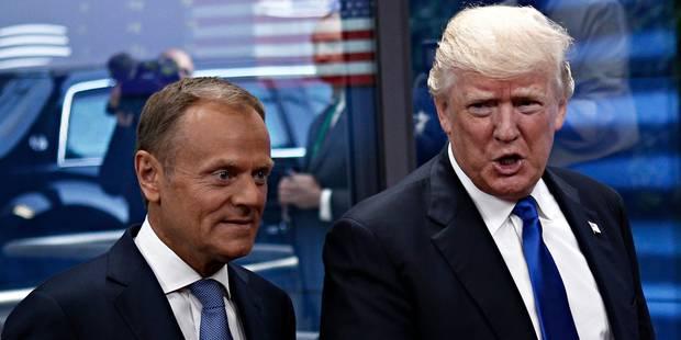 """La blague un peu limite de Tusk à Trump: """"Vous savez qu'on a deux présidents, dans l'Union?"""" (VIDEO) - La DH"""