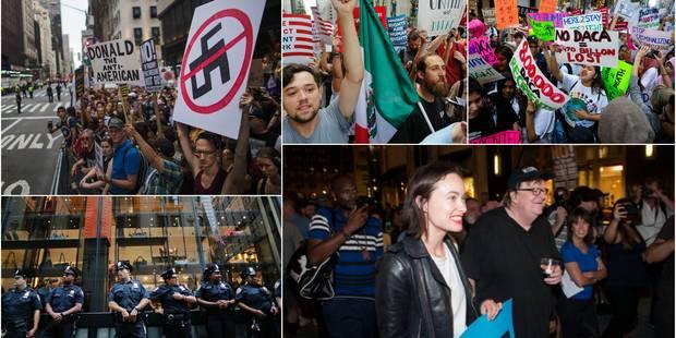 Michael Moore, Olivia Wilde et des centaines de personnes ont manifesté devant la Trump Tower - La DH