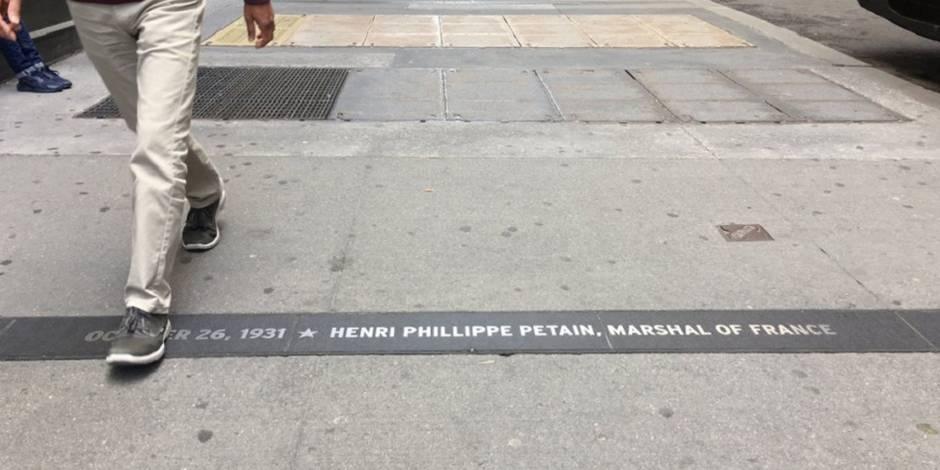 La plaque commémorative du maréchal Pétain sera retirée à New York