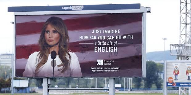Melania Trump fait arrêter une campagne publicitaire qui utilisait son image pour promouvoir l'anglais - La DH