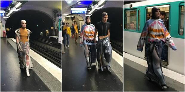 Un défilé de mode dans le métro à l'heure de pointe à Paris - La DH